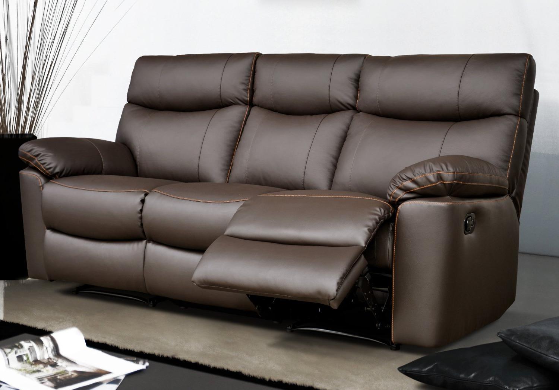 Sofa Piel Txdf sofà Relax De Piel 3 Plazas Sharona Conforama