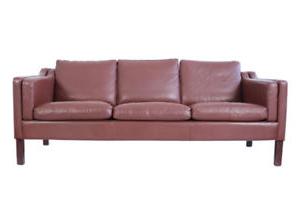 Sofa Retro 0gdr 60s 70s Retro Danish 3 Seat Classic Mid Century Brown Leather sofa