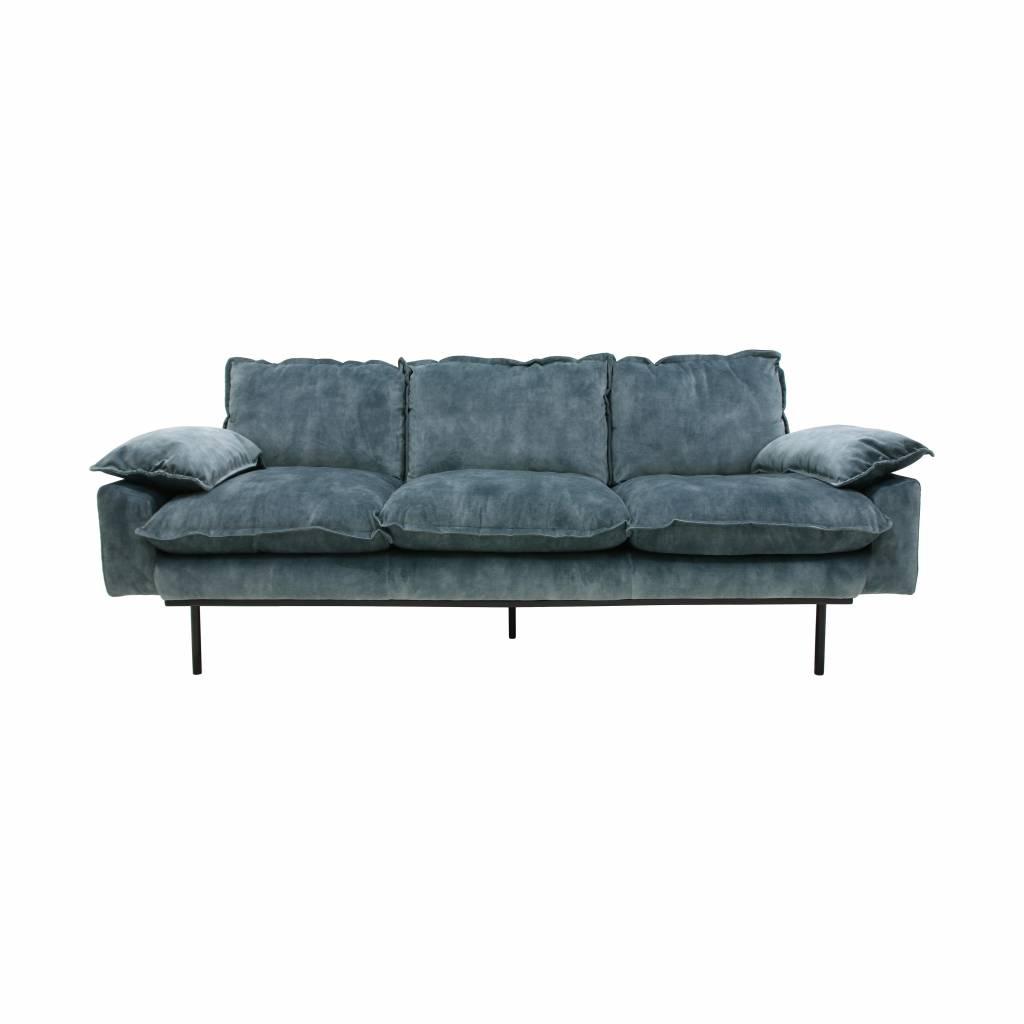 Sofa Retro 8ydm Hkliving sofa Retro 3 Seater Velvet Petrol Blue New Collection