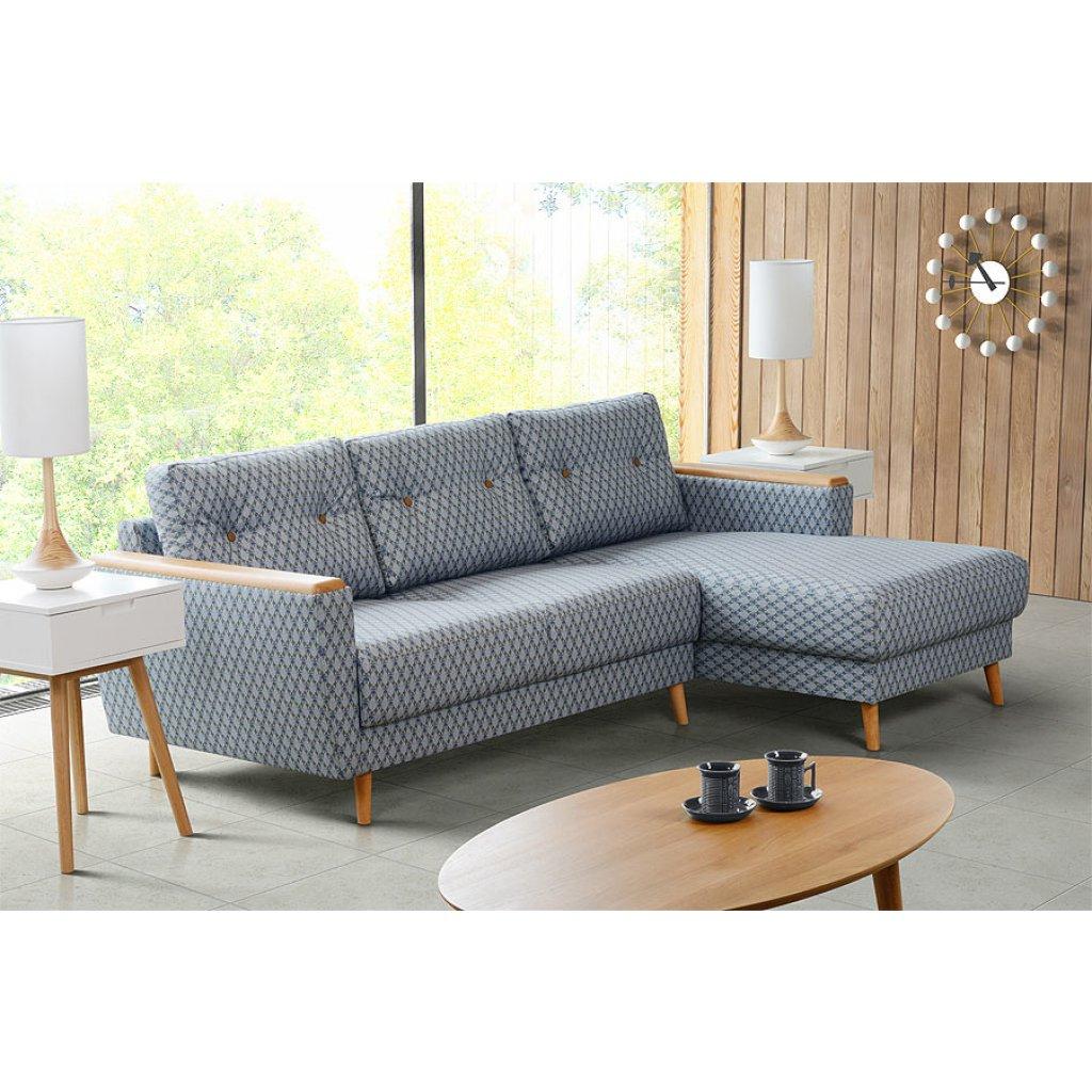 Sofa Retro E9dx Expo Left Hand Corner sofa Retro Leaf Patterned Blue My Furniture