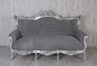 Sofa Salon Tqd3 Royal sofa Baroque Salon Couch Silver Grey Antique Bench 200cm