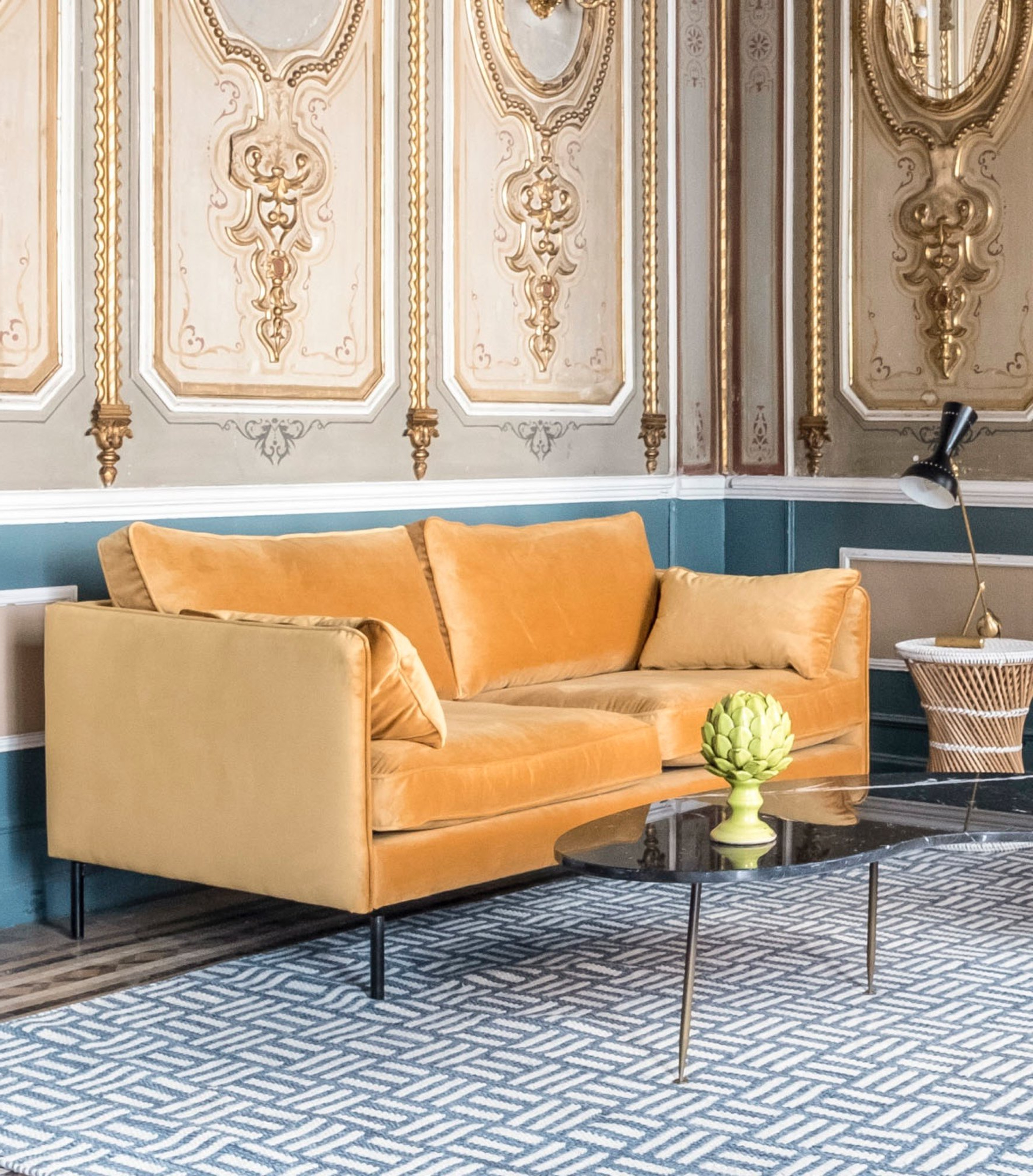 Sofa Terciopelo 3id6 sofà Diseà O Mostaza Rue Vintage 74