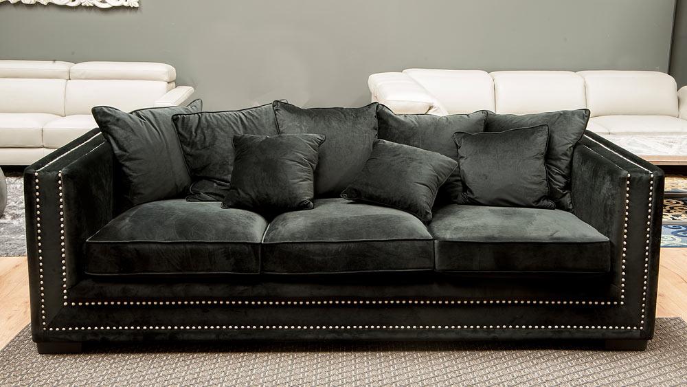 Sofa Terciopelo 87dx sofà Ixia Terciopelo Negro Con Tachuelas Outletsofa