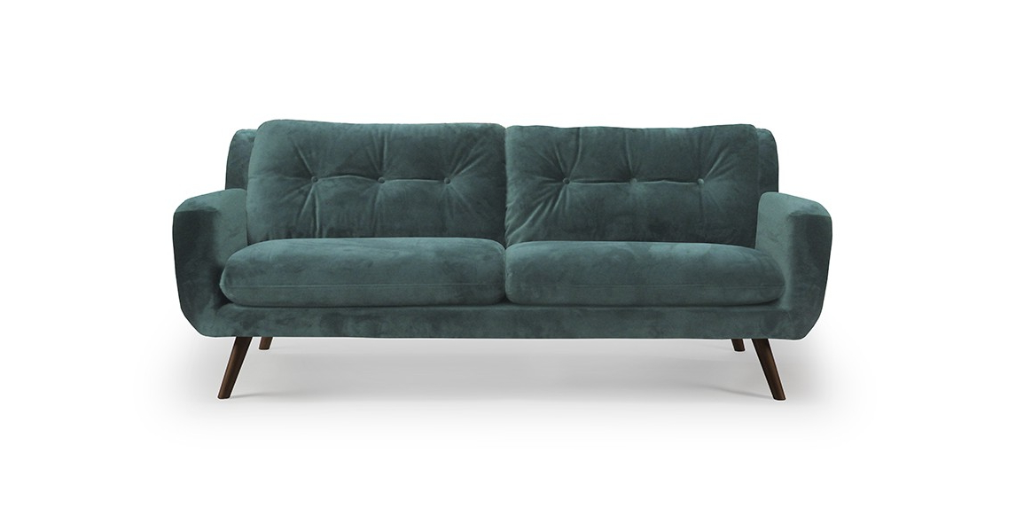 Sofa Terciopelo H9d9 Ethnicraft sofà De Tres Plazas N801 Tapizado En Terciopelo Verde