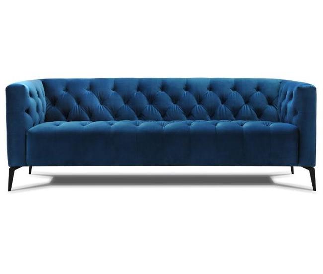 Sofa Terciopelo Kvdd sofà 3 Plazas De Terciopelo Vega Azul Conforama