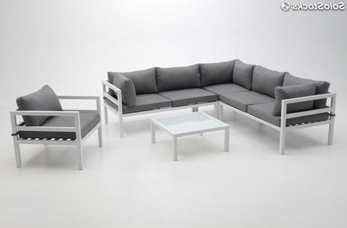 Sofa Terraza E6d5 sofa De Terraza Esquinero Creta Aluminio Blanco Cojines Gris