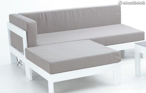 Sofa Terraza E6d5 sofa Derecho Dos Plazas Aluminio Blanco Laos