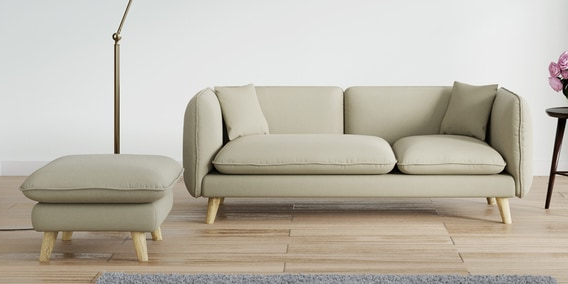 Sofas Beige U3dh Gloria Three Seater sofa with Ottoman In Beige Colour by