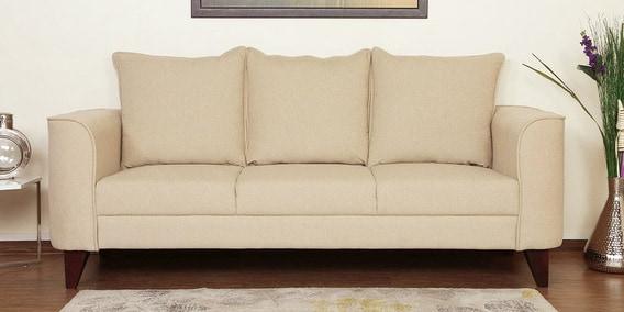 Sofas Beige Wddj Lara Three Seater sofa In Beige Colour by Casacraft Online