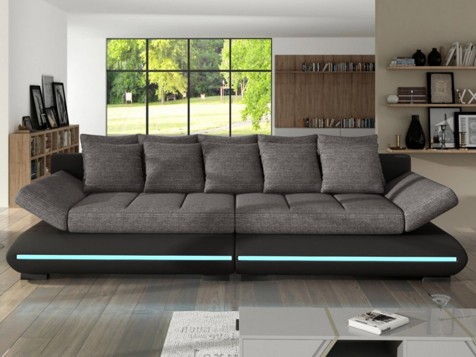 Sofas De 4 Plazas Txdf sofà Cama 4 Plazas Tela Y Piel Sintà Tica 2 Colores Mattias