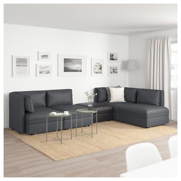 Sofas Modulares Ikea Qwdq 4 Seat Modular sofa W 3 sofa Beds Vallentuna and Storage Hillared Murum Dark Grey Black