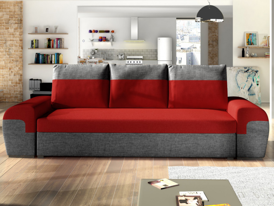 Sofas Rojos Wddj sofà Cama De 3 Plazas De Tela Con Baúl Gaby Barato