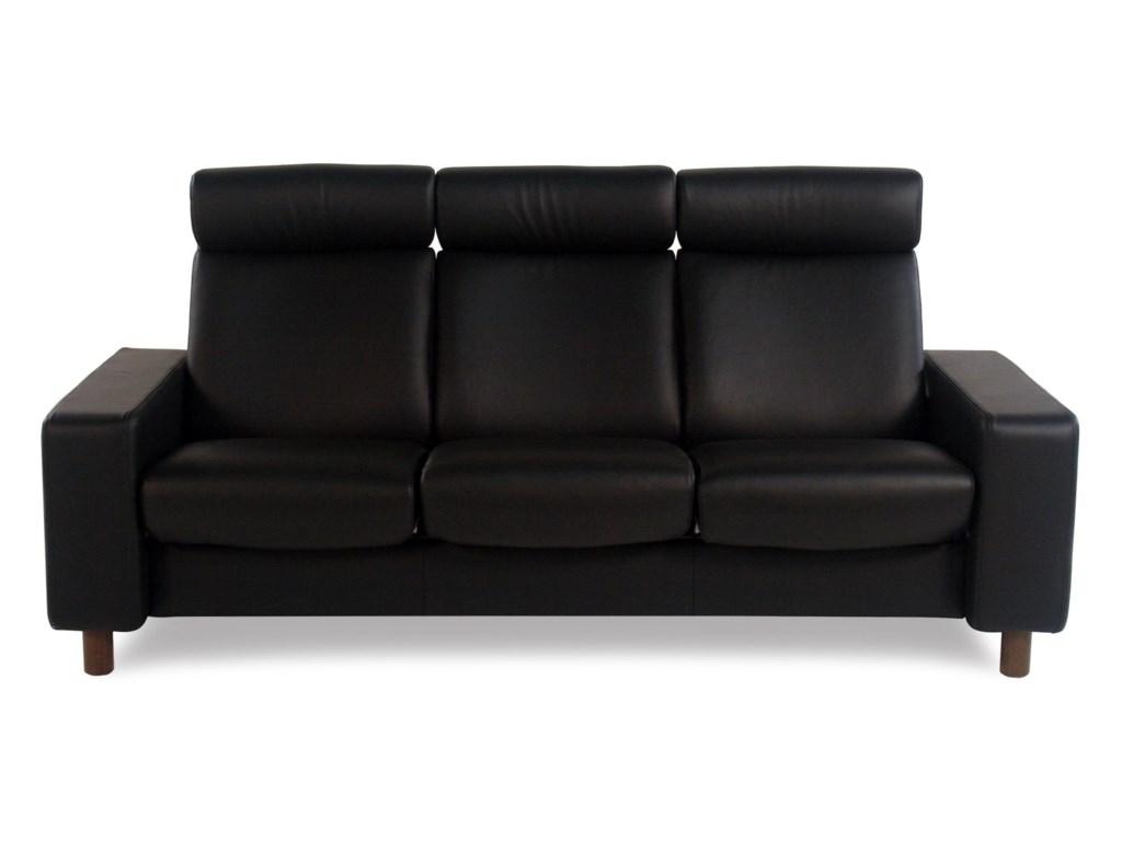 Sofas Stressless 8ydm Stressless Pause 3 Seat High Back sofa Paloma Black W Walnut Finish by Stressless by Ekornes at Rotmans