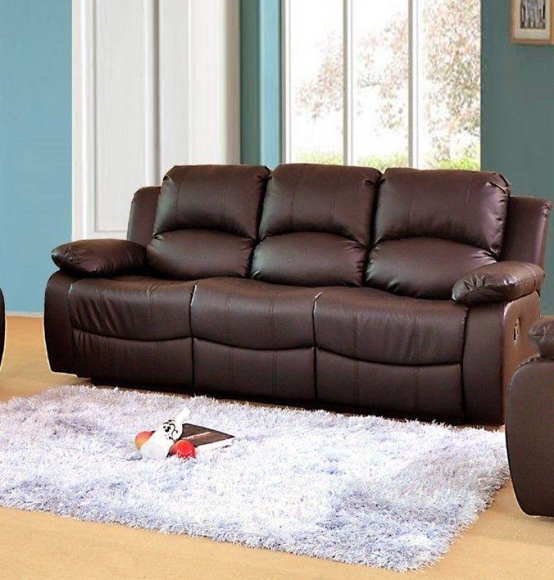 Sofas Valencia Dddy Luxury Electric Valencia 3 Seater Bonded Leather Recliner sofa Brown