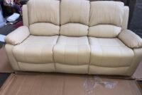 Sofasvalencia Ffdn Valencia 3 Seater Manual Recliner Bonded Leather sofa In Cream In