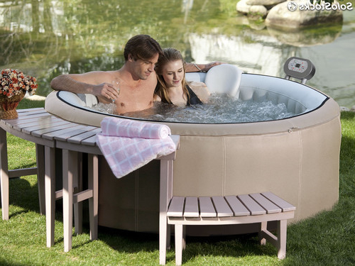 Spa Hinchable Tldn Spa Hinchable Canne En Pvc 4 Plazas Beige