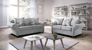 Stock sofas Q5df Brand New Nicole 3 2 Seater sofas Chesterfild Silver Fabric Uk Stock