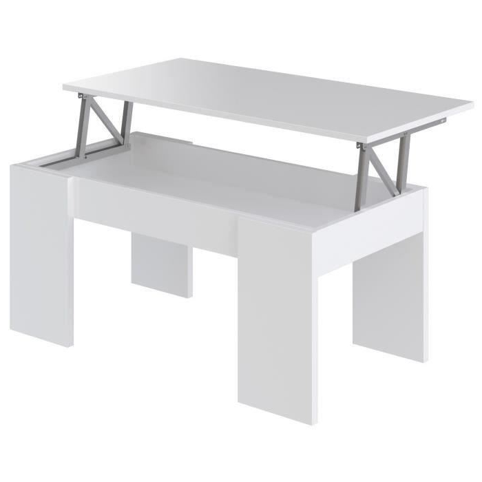 Table Basse 3ldq Swing Table Basse Plateau Relevable Style Contemporain Blanc Mat L