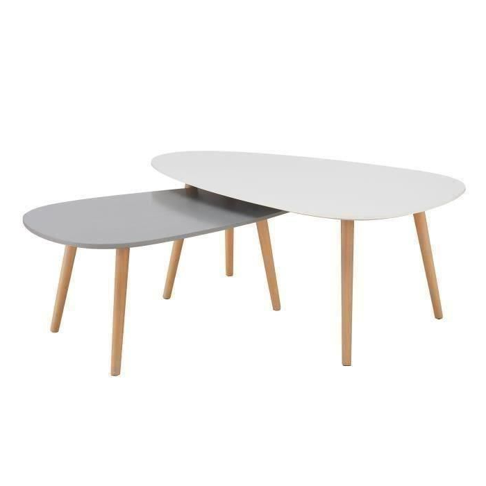 Table Basse Ftd8 Kivi Lot De 2 Tables Basses Gigognes Scandinave Blanc Laquà Et Gris
