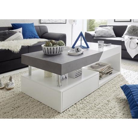Table Basse Ftd8 Table Basse Avec Rangement Blanc Laquà Mat Et Bà ton Cbc Meubles