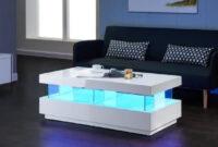 Table Basse T8dj Light Table Basse Led Contemporain Laquà Blanc Brillant 120cm