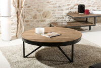Table Basse Zwd9 Table Basse Ronde 90cm Bois Teck Pieds MÃ Tal Tinesixe so Inside