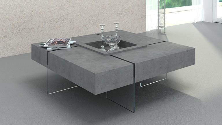 Table Basse Zwdg Table Basse Carrà E Avec Pieds En Verre Design Crystalline Beton