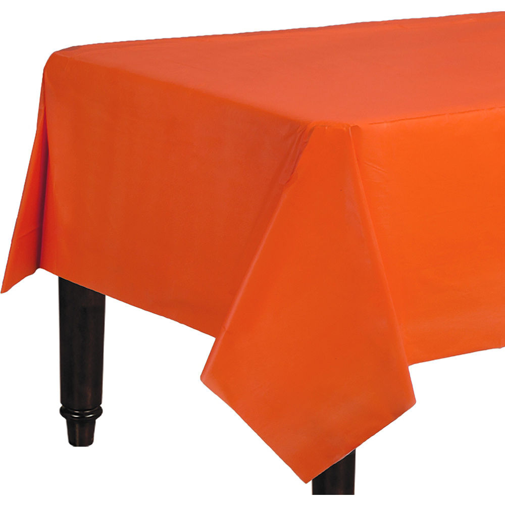 Table Cloth 4pde orange Plastic Table Cover 54in X 108in Party City