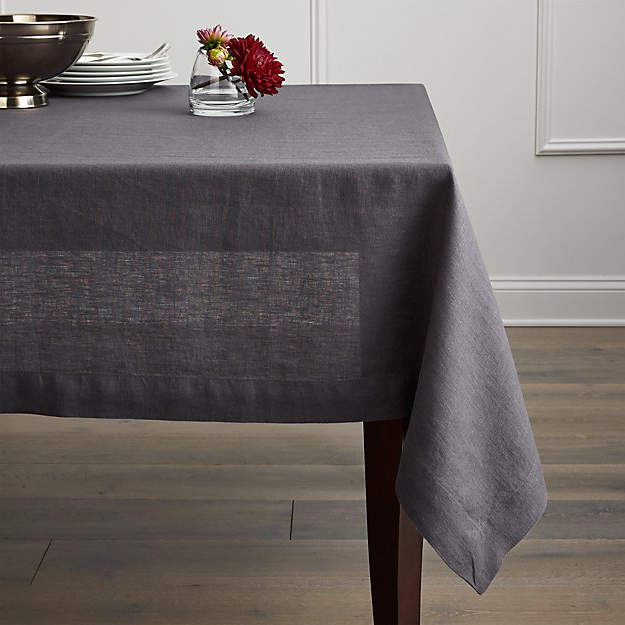 Table Cloth 8ydm Helena Graphite Grey Linen Tablecloth Crate and Barrel