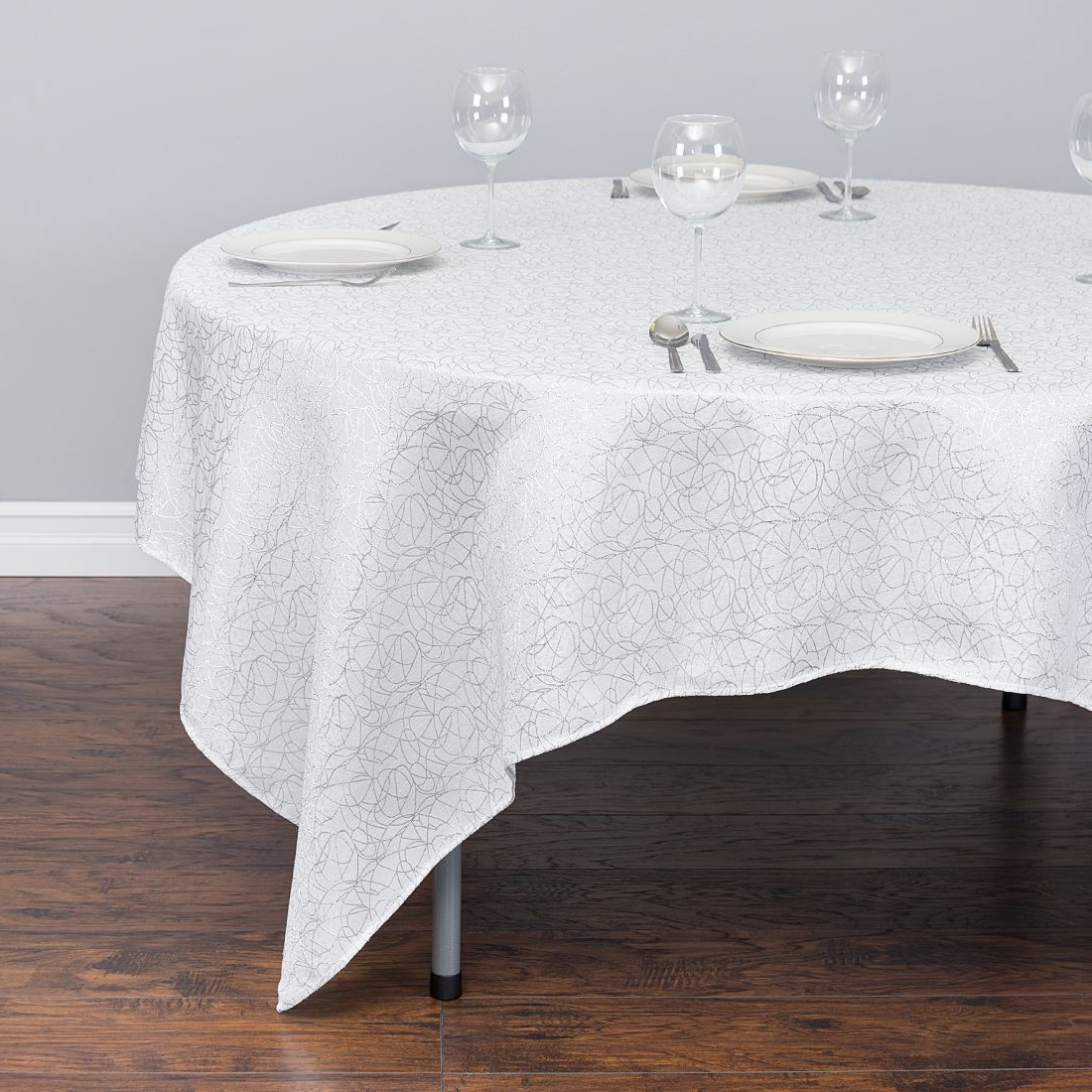 Table Cloth Gdd0 85 In Square Abstract Silk Embroidered Polyester Tablecloth