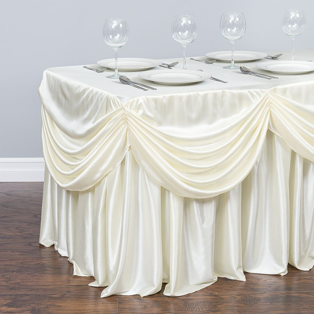 Table Cloth Jxdu 6 Ft Drape Chiffon All In 1 Tablecloth Pleated Skirt Ivory