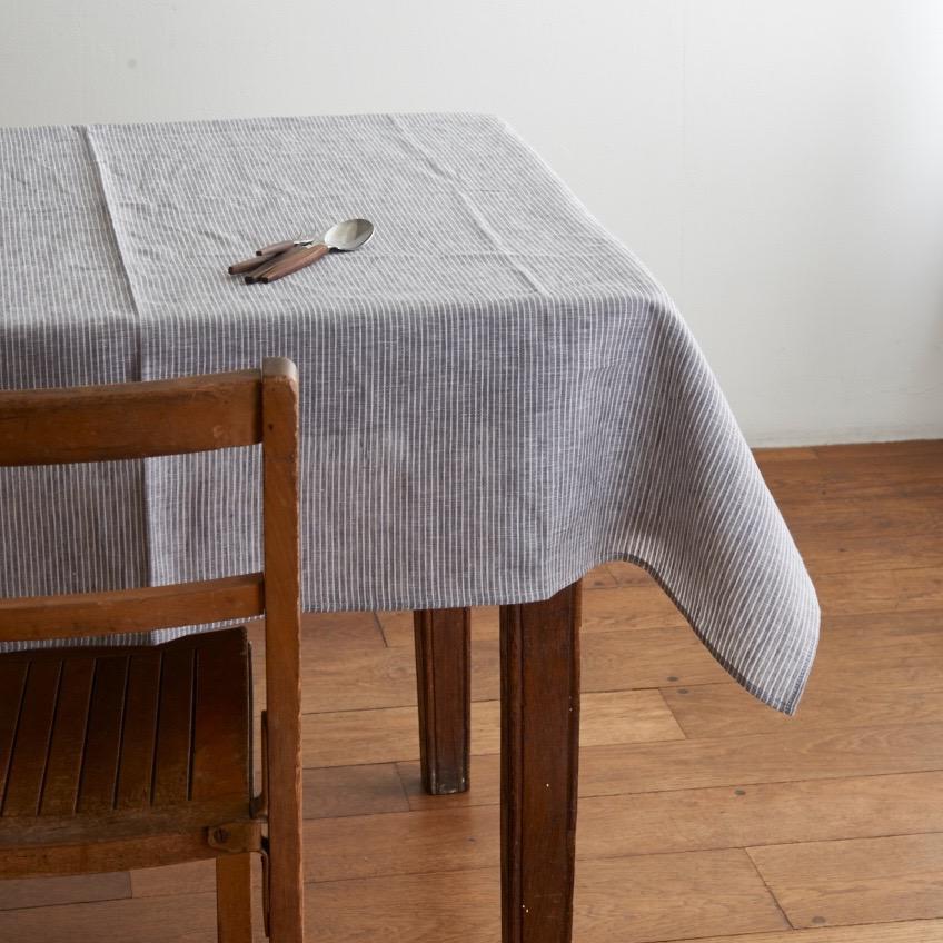 Table Cloth Qwdq Tablecloth Grey White Thin Stripe Shop Fog Linen
