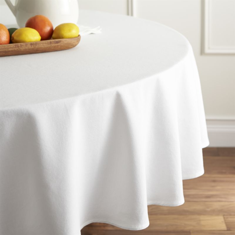 Table Cloth Txdf Abode White 90 Round Tablecloth Reviews Crate and Barrel