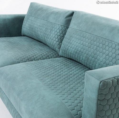 Tela sofa E6d5 sofa 3 Plazas Florence Tela Cowboy Turquesa Pies Acero Negro