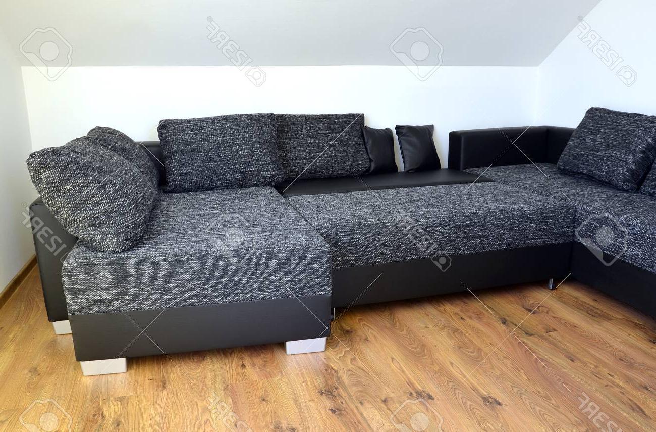 Tela sofa Tldn sofà De Tela Blanco Y Negro Moderno Con Cuero Y Almohadas Negro