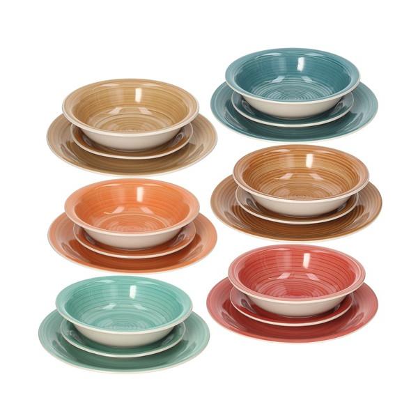 Vajilla Colores Nkde Vajilla Gres En 6 Colores Amber tognana 18 Piezas