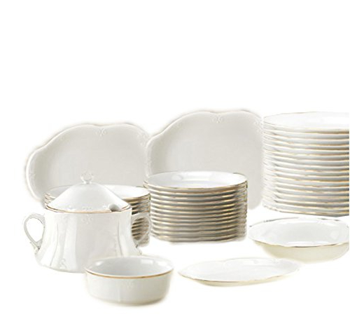 Vajilla De Porcelana 8ydm A Business Dc Vajilla Porcelana Versalles 42 Piezas Con Filo Dorado