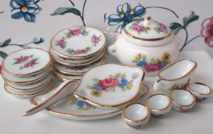 Vajilla De Porcelana Dwdk Vajilla De Porcelana 18 Piezas Miniatura Para Casa De Muà Ecas