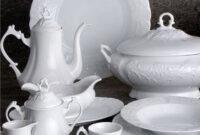 Vajilla De Porcelana Mndw Juego De Vajilla De Porcelana 57 Piezas Blanco Grabado
