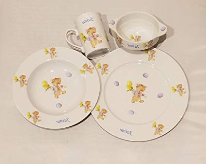 Vajilla Infantil Porcelana Ffdn Vajilla Infantil Porcelana Personalizada Con Nombre 4 Piezas