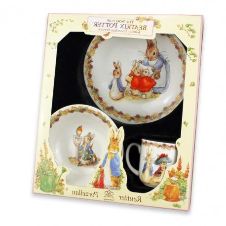 Vajilla Infantil Porcelana U3dh Vajilla Infantil De Beatrix Potter Juego De Desayuno Porcelana 3 Pcs