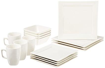 Vajillas Cuadradas Ftd8 Basics Premium Vajilla De 16 Piezas Porcelana 4 Ensales