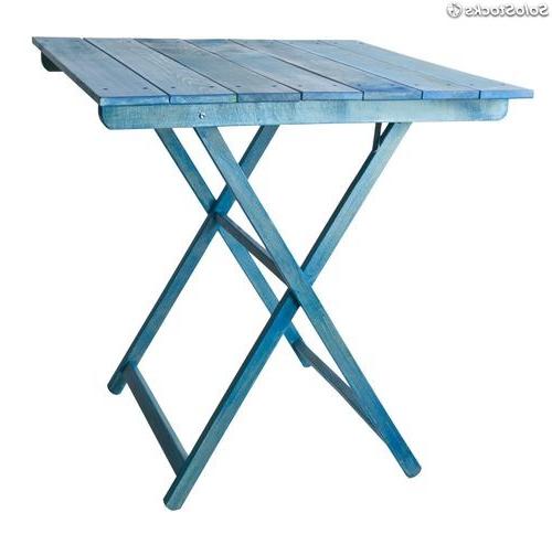 Velador Plegable Ftd8 Mesa Velador Madera Plegable Tablillas Azul 70x70cm