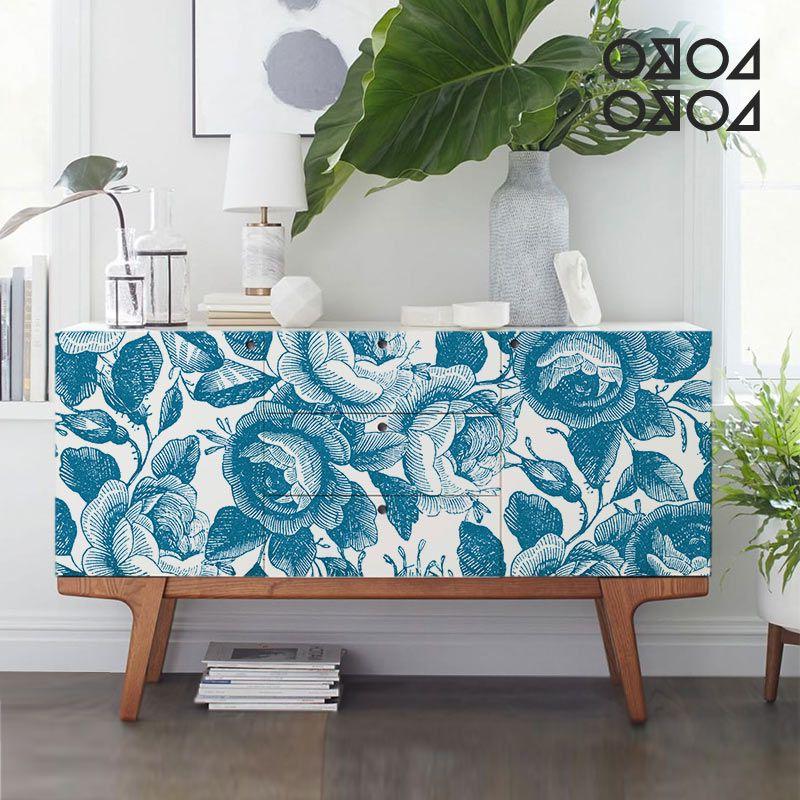 Vinilo Autoadhesivo Para Muebles 9ddf Estampado Floral Azul Vinilo Para Muebles Suelos Y Paredes