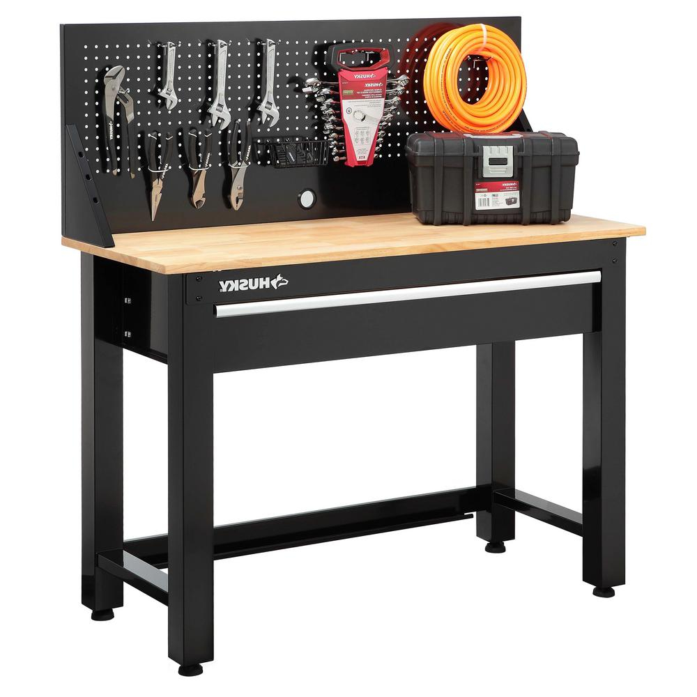 Workbench Thdr Husky 4 Ft solid Wood top Workbench with Storage G4801s Us the
